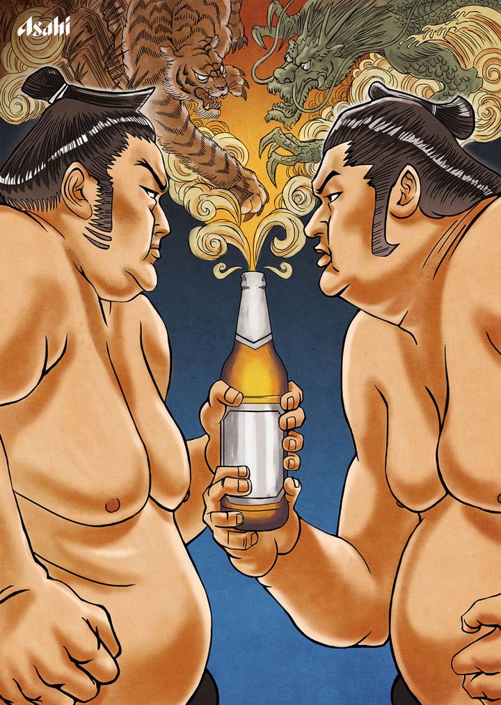 日本朝日啤酒海报-相扑