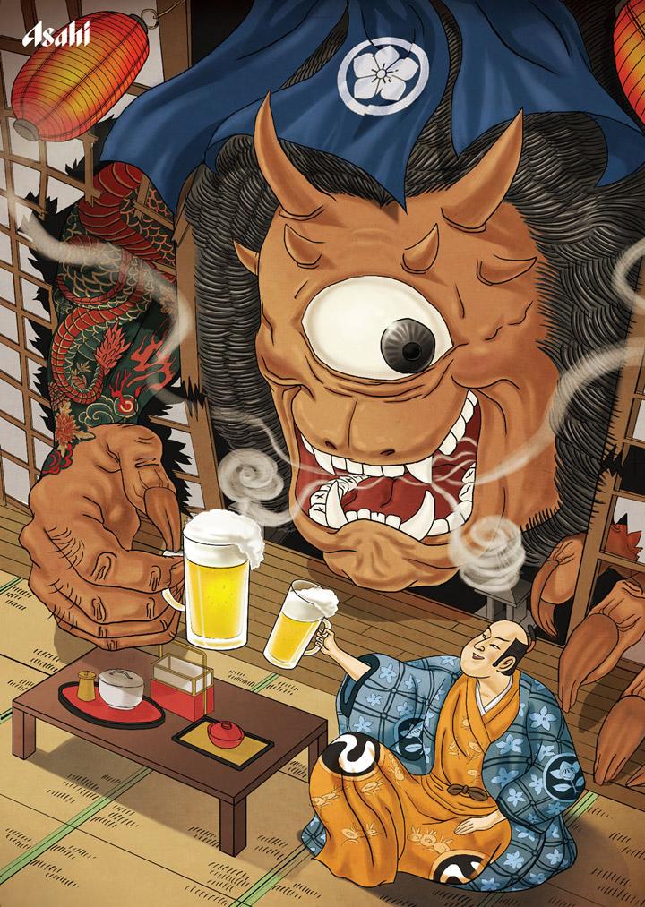 日本朝日啤酒海报-神